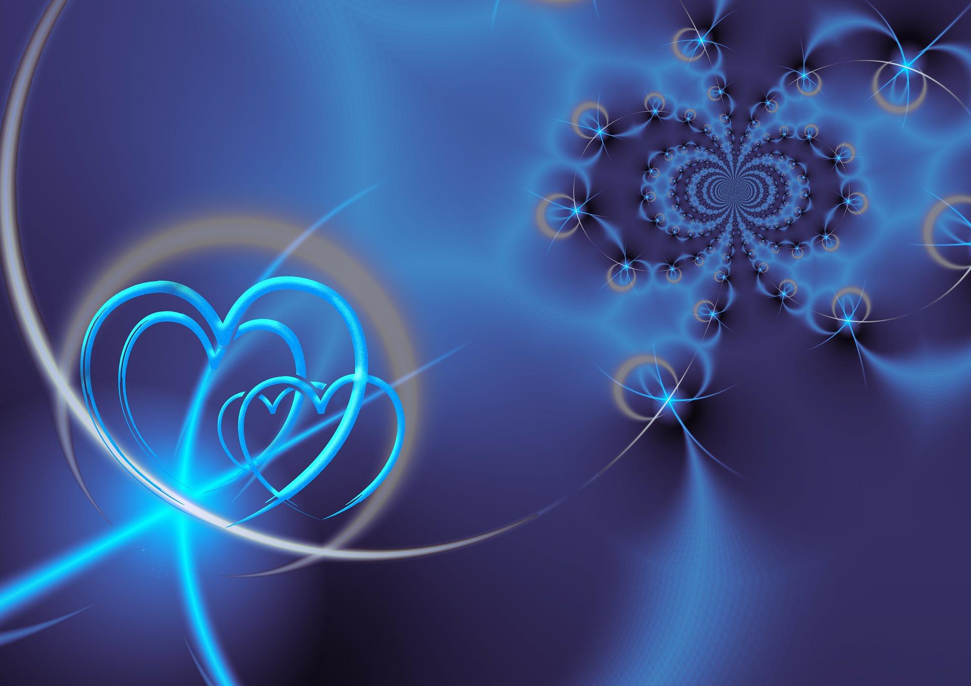 Coeurs bleus entrelacés